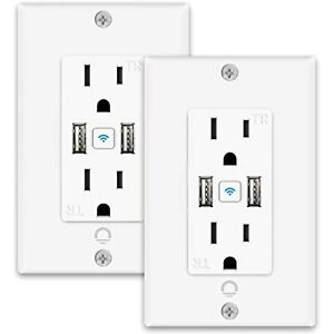 Smart Outlet with 2 USB Ports,Lumary Smart Outlet in Wall Works with Alexa &