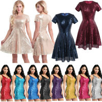 Women Sequin Glitter Short Mini Dress Bodycon Evening Cocktail Party Gowns Dress