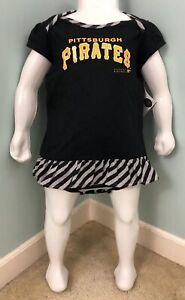 NWT Girls Toddler MLB Pittsburgh Pirates Snap Up Dress & Bib Sz 24 Months