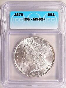 1879 Morgan Dollar Silver S$1 Brilliant Uncirculated ICG MS62+ Mint State