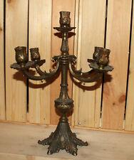 Vintage ornate bronze plated candle holder candelabra