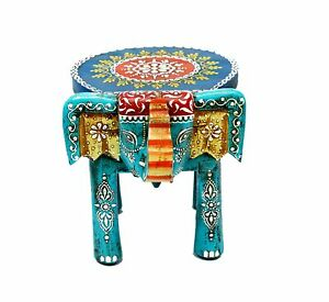 Indian Handmade Wooden Colorful Decorative Elephant Shape Stool Foot Stool