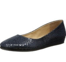 NIB French Sole fs/ny ZEPPA NAVY LEOPARD Wedge Flats Shoes Womens 6 M