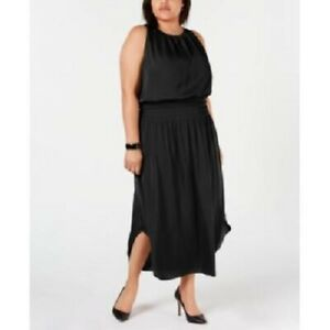 Alfani Women's Plus Size Smocked Satin Midi Dress Black