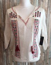 Dex Women's Blouse Buckle BOHO Top White Red Tassles Sheer Cotton Small