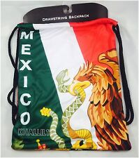 Mexico Flag Polyester Drawstring Backpack/Sack