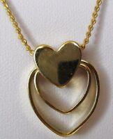 Collier pendentif ajouré chaîne bijou rétro vintage coeur plaqué or  3529