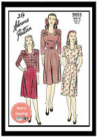 1940's Pretty Tea Frock Sewing Pattern -  Reproduction