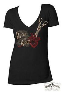 Se7En Deadly Be Still My Heart Anatomy Goth Scissors Womens V-Neck Shirt S-2Xl