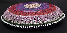 Indian Mandala Round Floor Cushion Yoga Pillow Ottoman Round Cushion Cover Sham