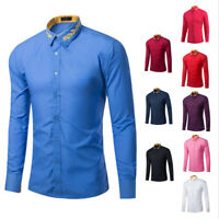 Ambroidered Collar Men's Casual Slim Fit Stylish Long Sleeve Dress Shirts Tops