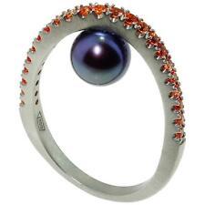 Beautiful Black Pearl and Orange Sapphire Ring