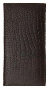 Genuine Leather PLAIN Checkbook Cover Crocodile Brown NEW!!!