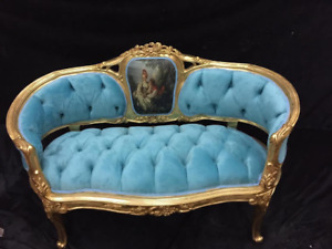 French Louis XVI/Renaissance style Sofa/Settee in Blue - Custom Made