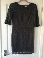 Oasis Grey Lace Zip Back Dress Size Small S 8 10 3/4 Sleeves Sleeve Lined