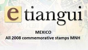 maz13 Mexico 2008 year complete, 64 commemorative  stamps SCV $ 75.60