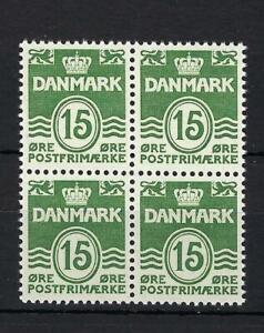 Denmark 1963 Sc# 382 Arms Lion 15ore numerals block 4 MNH