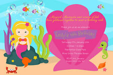 Girl's Birthday Invitations Mermaid theme -We Print or Print Yourself