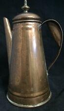 "Vintage COLONIAL VIRGINIA Handmade Solid Copper Coffee Pot, Brass Finial Top 10"""