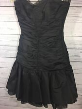 Betsey Johnson Black Ruched 2 Taffeta Mini Tiered 80's Prom Dress