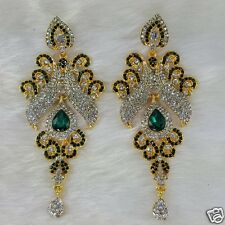 Gold Plated Kundan Designer Zerconic Bollywood Earrings Designer Jhumka Style