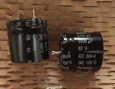 10 pcs. ROE  Roederstein  EYS07  Elko  SNAP-IN  2200uF 63V 25x25mm  85°C NOS #WP