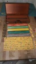 Vintage Mahjong Gold Medal Set By Crisloid 152 Tiles 5 Racks, Butterscotch