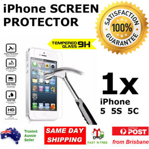 1x iPhone 5 5s 5c SE Glass Screen Protector 9H Premium Tempered Apple