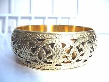 Bangle - Brass coloured cut out design  - Costume Jewellery