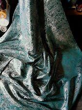 "1M Teal verde / bianco colore Paisley METALLICA Broccato / Jacquard Fabric 58 ""Wide"