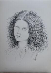Fiorello Tosoni litografia originale Volto bianco e nero 70x50 firmata numerata