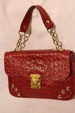 "SASSY Red ""CROC"" Textured Handbag W/Gold Tone Decor & Front Lock, Italy (Bin21)"