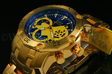 Invicta Men's Pro Diver Scuba 3.0 Chrono 18K Gold Plated Blue Dial S.S Watch NEW