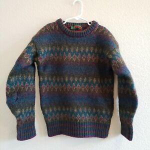 Vintage Boston Traders 100% Pure Wool Purple Teal Heavy Duty Sweater Boys L