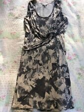 Luxe NICOLE FARHI Grigio Floreale DRAPPEGGIATO DRESS-Taglia L 12/14 indossata una volta