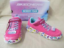 Girls' Youth Skechers 12 M Emo Pop Neon Pink/Multi Hook/Loop Close Sneakers
