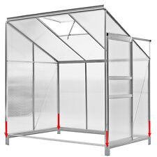 6x4 Polycarbonate Lean to Greenhouse Garden Cold Frame Foundation Aluminium Vent