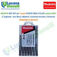 MAKITA SET KIT da 7 pezzi PUNTE SDS 4 PLUS 2 TAGLIENTI codice K931 Muro Cemento