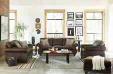 Traditional 3-Piece Sofa Loveseat Chair Set Brown Performance Microfiber - Usa