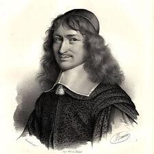 Grand Portrait de Nicolas Foucquet  - Lithographie XIXème