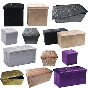 Crushed Velvet Diamante Storage Ottoman Seat Box Pouffee Foot Stool Cover Home