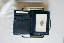 Fossil Blue Geniune Lether Front Pocket Wallet With Elastic Strap Retail £42