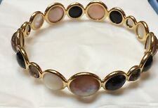 IPPOLITA 18k GOLD LOLLIPOP BANGLE BRACELET W/ 17 Stones ONYX, MOP, SMOKY TOPAZ