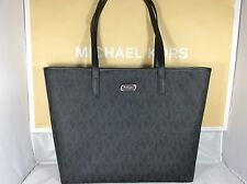 NWT Michael Kors Black PVC Jet Set Laptop Computer Multifunction Tote Bag Purse