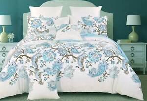 100% COTTON Doona Cover Blue Paisley 3pcs Quilt Cover Set /or Acc