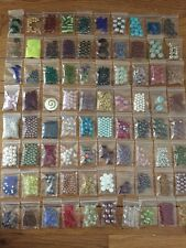 "Lot Of 25 Bags Of Beads Jewelry Supplies 2""X1.5"" Bags, Beautiful Collection"