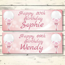 2 PERSONALISED ROSE GOLD BIRTHDAY BANNERS - DESIGN 4 TIED BALLOON (ANY NAME/AGE)