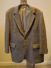 Harris Tweed Mens Sport Jacket Blazer Coat Sz 44  Tan Grey Herringbone Wool
