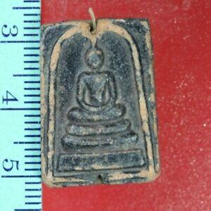 ST-019 Phra Buddha Somdej Black THAI AMULET Terracotta OLD Thai Amulet Rare