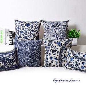 Home Decorative Oriental Blue Floral Linen Cushion Cover/Pillow Case